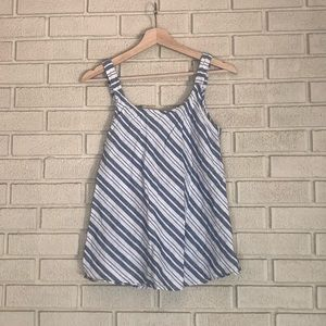 MAKE OFFER Artisan NY Diagonal Striped Linen Tank